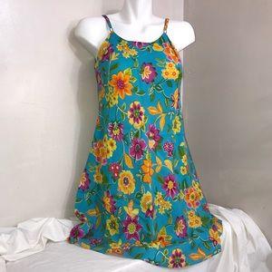 Vibrant Summery Blue Floral Print Cami Mini Dress
